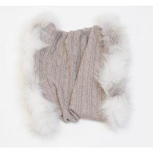Écharpe tricôts beiges en laine et fourrure de renard