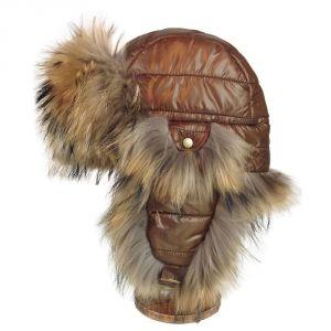 Chapka matelassée marron garnie de fourrure de raton-laveur