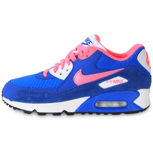Nike Air Max 90  Bleu Et Rose Baskets/Running Enfant