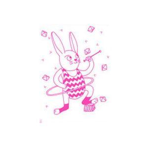 Affiche Bunny / Phosphorescente - 30 x 40 cm - OMY Design & Play Blanc,Rose en Papier