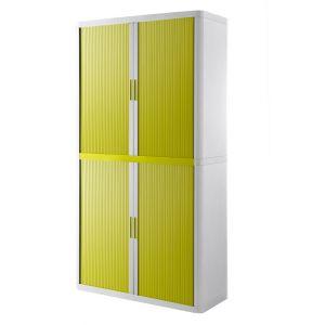 Armoire à rideaux EASY OFFICE 2m - Corps blanc, rideaux verts, poignées vertes
