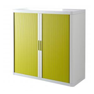 Armoire basse à rideaux EASY OFFICE 1m - Corps blanc, rideaux verts, poignées vertes