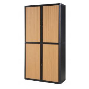 Armoire à rideaux EASY OFFICE 2m - Corps noir, rideaux hêtre, poignées noires