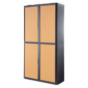 Armoire à rideaux EASY OFFICE 2m - Corps anthracite, rideaux hêtre, poignées anthracites
