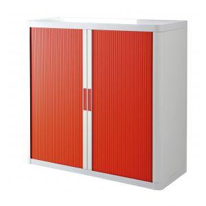 Armoire basse à rideaux EASY OFFICE 1m - Corps blanc, rideaux rouges, poignées rouges