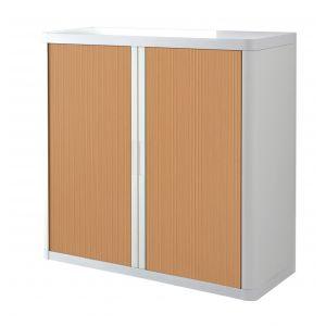 Armoire basse à rideaux EASY OFFICE 1m - Corps blanc, rideaux hêtre, poignées blanches