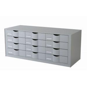 Bloc 12 tiroirs - Compatible avec l'armoire EASYOFFICE - Gris