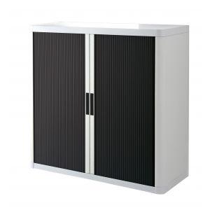 Armoire basse à rideaux EASY OFFICE 1m - Corps blanc, rideaux noirs, poignées noires