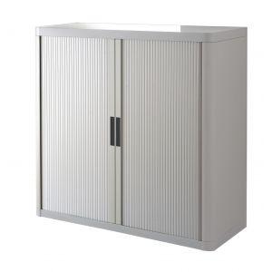 Armoire basse à rideaux EASY OFFICE 1m - Corps gris, rideaux gris, poignées grises