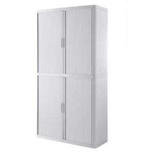 Armoire à rideaux EASY OFFICE 2m - Corps blanc, rideaux blancs, poignées blanches