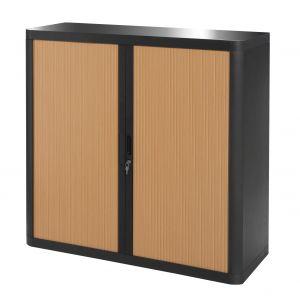 Armoire basse à rideaux EASY OFFICE 1m - Corps noir, rideaux hêtre, poignées noires
