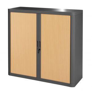 Armoire basse à rideaux EASY OFFICE 1m - Corps anthracite, rideaux hêtre, poignées anthracites