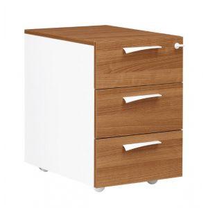 Caisson 3 tiroirs - XENON - L42 cm - Finition merisier/blanc