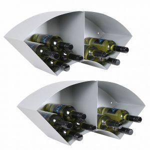 Étagère à vin murale WAVE,en argent métallique