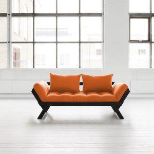 Banquette méridienne noire futon orange BEBOP couchage 75*200cm