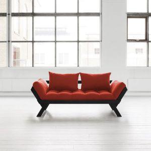 Banquette méridienne noire futon rouge BEBOP couchage 75*200cm