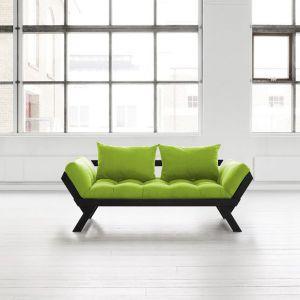 Banquette méridienne noire futon lime BEBOP couchage 75*200cm