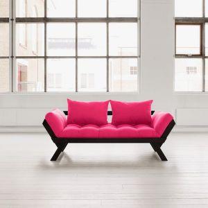 Banquette méridienne noire futon magenta BEBOP couchage 75*200cm