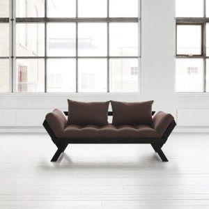 Banquette méridienne noire futon marron BEBOP couchage 75*200cm