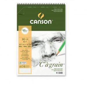 "400060622 - Album spiralé 30 feuilles ""C"" à grain® A3 125g/m², grain fin blanc naturel"