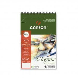 "400060627 - Album spiralé 30 feuilles ""C"" à grain® A5 224g/m², grain fin blanc naturel"