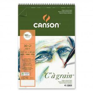 "400060625 - Album spiralé 30 feuilles ""C"" à grain® A3 180g/m², grain fin blanc naturel"