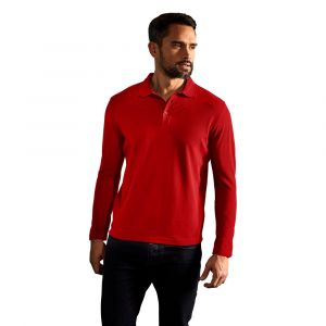 Polo homme manches longues, S, rouge feu