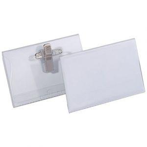 Badge combi pince + épingle Durable - format 5,4 x 9 cm - boite de 50