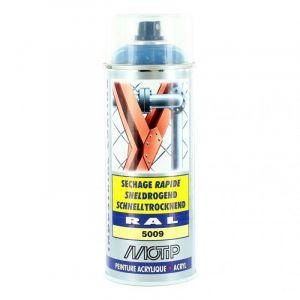 Bombe peinture Bleu azur brillant acrylique RAL 5009 Motip 400 ml M071