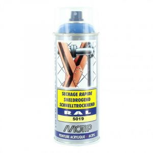 Bombe peinture Bleu Capri brillant acrylique RAL 5019 Motip 400 ml M07