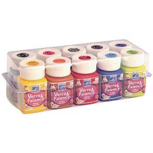 Peinture verre + faience - boite de 10 flacons de 50ml