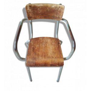 Chaise d'écolier vintage avec accoudoir