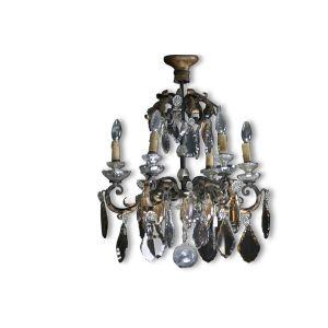 Lustre à pampille du XVIIIème siècle, cristal blanc et ambré, bronze et fer forgé doré