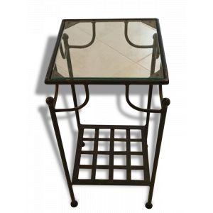 Table en fer forgé et verre