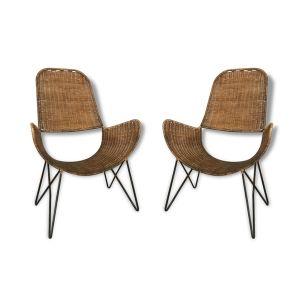 Paire de fauteuils 'brouette paris' by Raoul Guys, france 1950