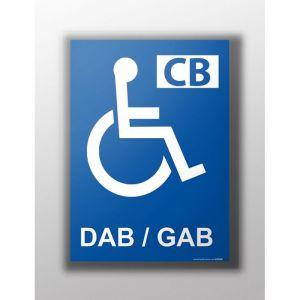 Panneau 'Distributeur automatique handicapé' : Modèle - Vinyle souple autocollant, taille panneau signalisation - 300 x 420 mm