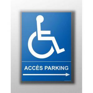 Panneau 'Accès parking handicapé flèche' : Type - Flèche droite, Modèle - Vinyle souple autocollant, taille panneau signalisation - 300 x 420 mm