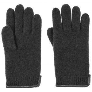 Gants en Laine Foulée Woolmark avec Cuir  paire de gants pour femme