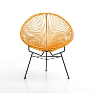 Fauteuil design en résine orange SELENA