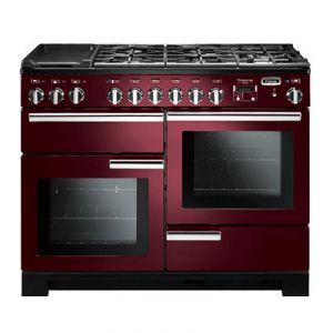 PDL110DFCY/C-EU Professionnal Deluxe FALCON cuisinière 110 cm de large, Table gaz 5 feux +1 domino vitroceramique,3 Fours électriques, rouge airelle, poignées chromées