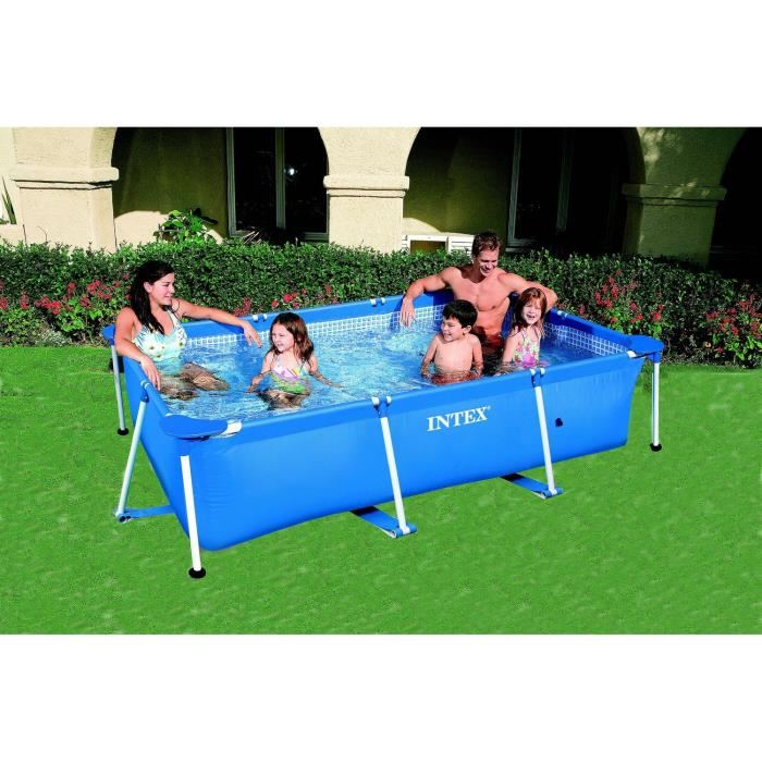 Intex 58980fr piscine hors sol tubulaire rectangulaire for Piscine tubulaire ovale intex
