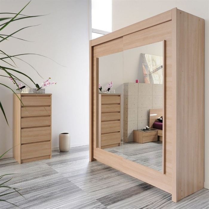 armoire dream 2 portes coulissantes avec miroirs. Black Bedroom Furniture Sets. Home Design Ideas
