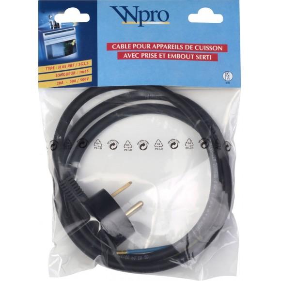 wpro cap325 cable pour appareil de cuisson avec prise et. Black Bedroom Furniture Sets. Home Design Ideas