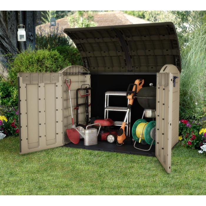 Chalet et jardin coffre de rangement multifonctions en for Chalet rangement jardin
