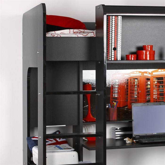 Lit mezzanine sur lev olympia avec un bureau et un caisson de rangement 90 - Lit caisson rangement ...