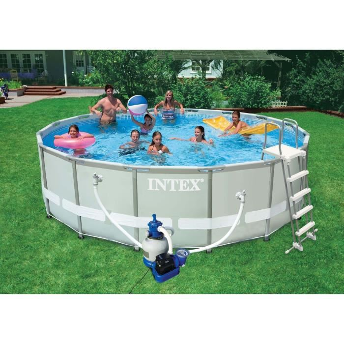 Intex 28324fr piscine hors sol tubulaire pvc acier 488 for Piscine intex hors sol