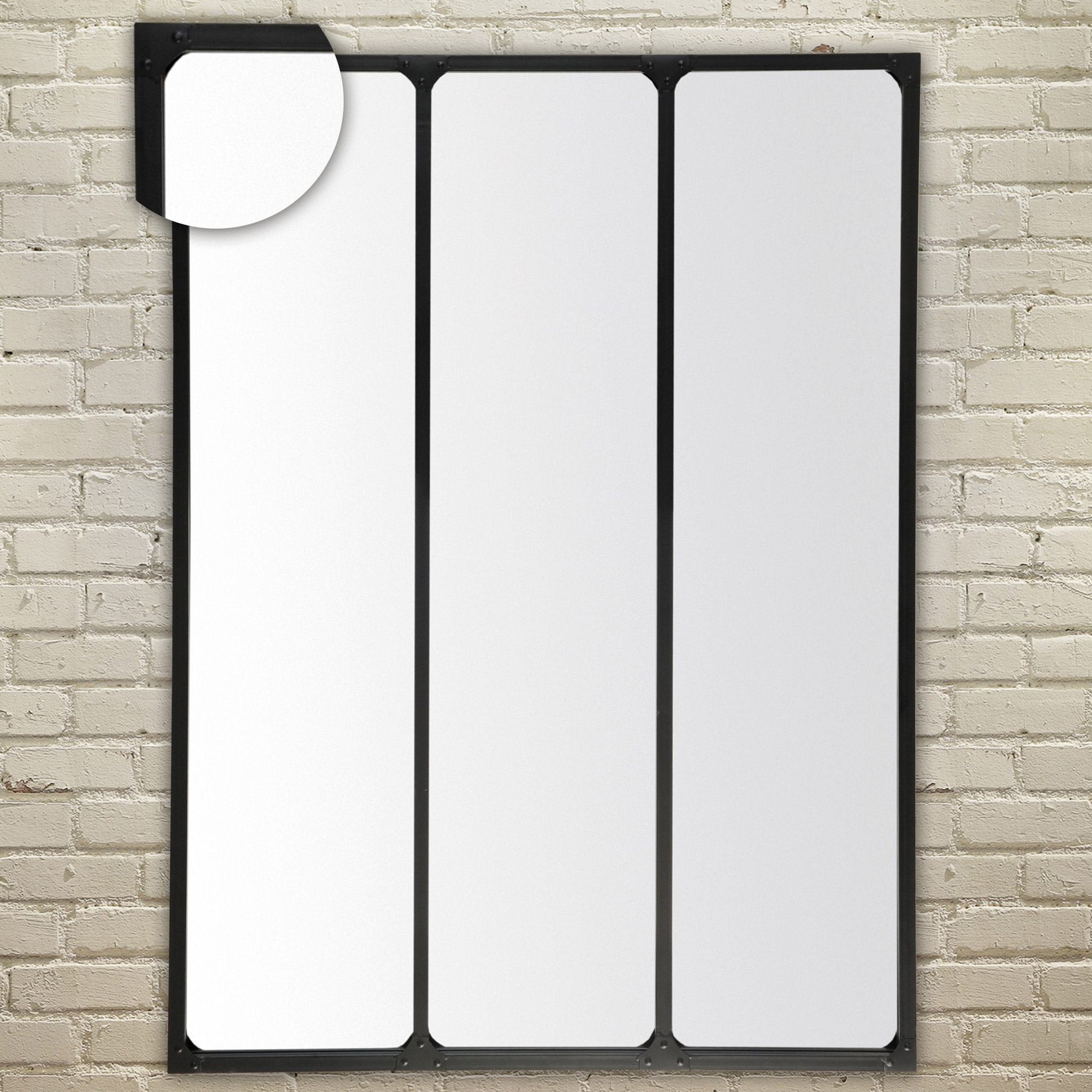 Emde miroir mural rectangulaire length 3 bandes en m tal for Miroir rectangulaire