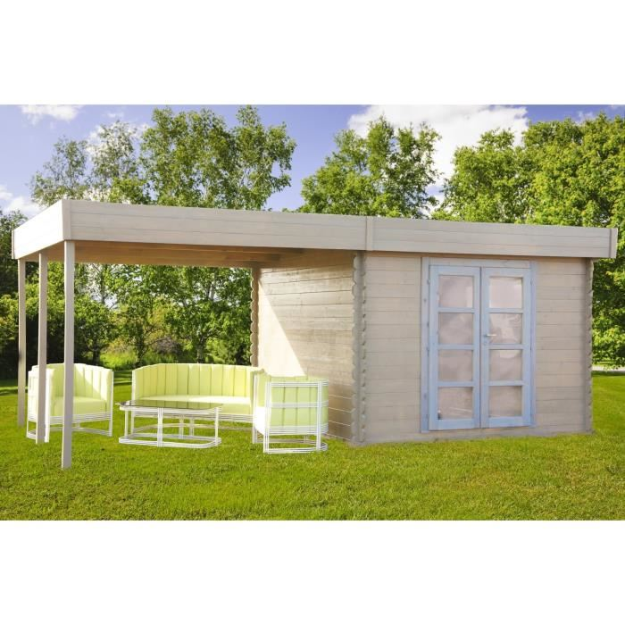 chalet et jardin azur pergola abri de jardin avec pergola en bois 28 mm 17 91 m2 comparer. Black Bedroom Furniture Sets. Home Design Ideas