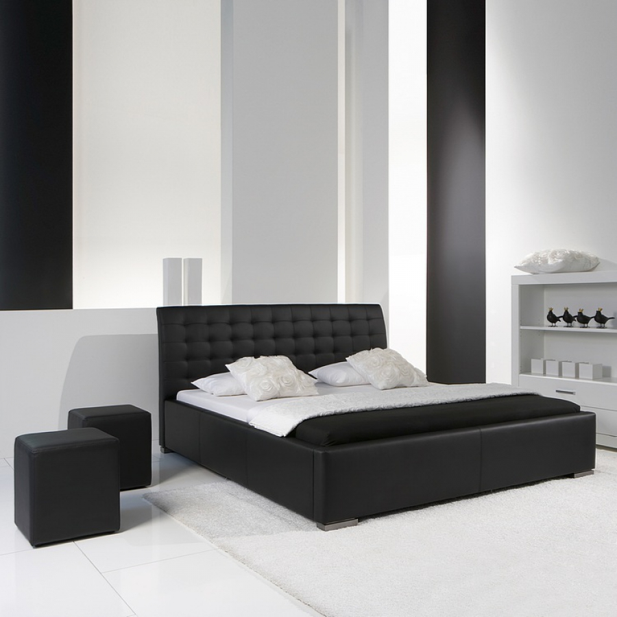 lit design izac avec t te de lit matelass e 200 x 200 cm. Black Bedroom Furniture Sets. Home Design Ideas