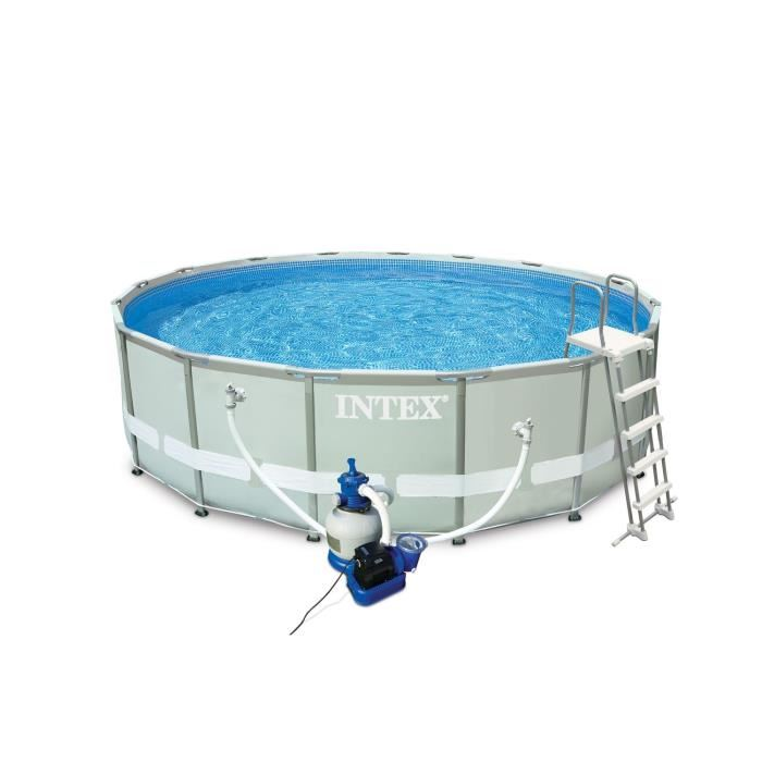 Intex 28324fr piscine hors sol tubulaire pvc acier 488 for Piscine tubulaire oogarden